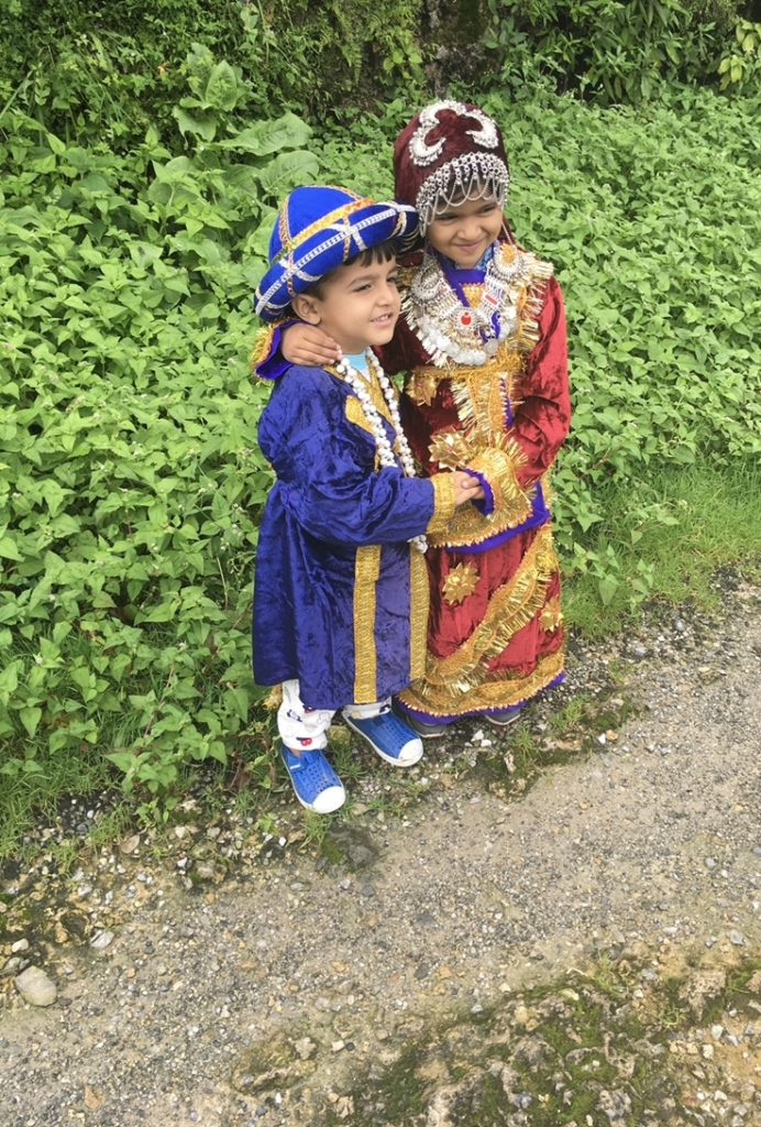 Our kids in local dress : mussoorie